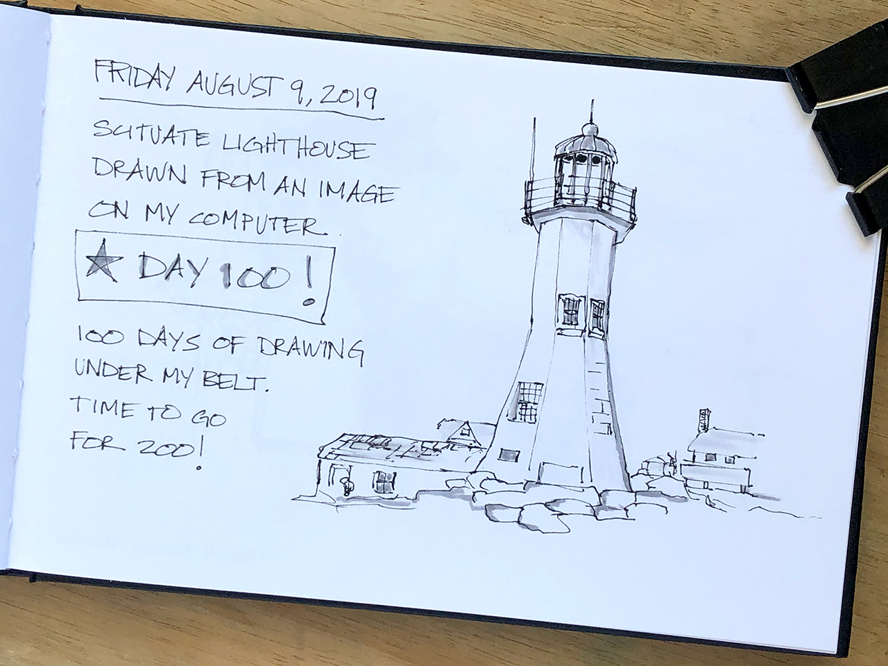 Lessons Learned from 100 Days of Drawing: Sketch of Scituate Lighthouse